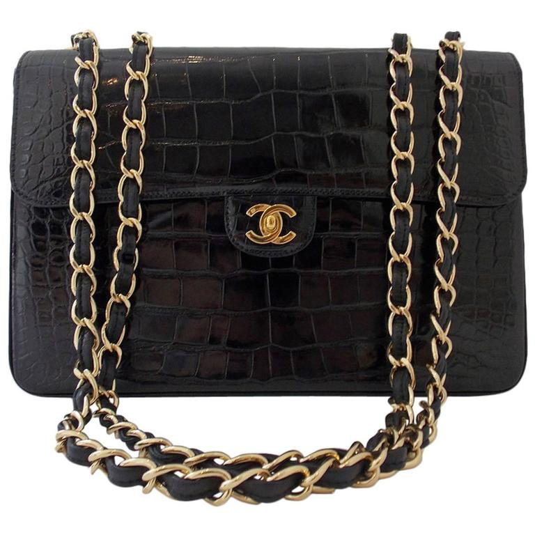 Chanel Black Crocodile Single Flap Handbag 1