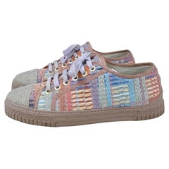 CHANEL Cuba Logo CC Tweed Lace Up Sneakers