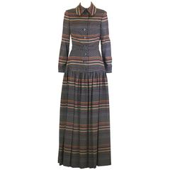 Christian Dior Chic Wool Challis Gown, 70's Diorling UK