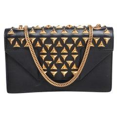 Saint Laurent Black Leather Mini Studded Betty Clous Shoulder Bag