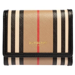 Burberry Beige/Black Icon Stripe Coated Canvas and Leather Small Trifold Wallet