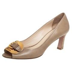 Prada Beige Leather Buckle Detail Peep Toe Pumps Size 38