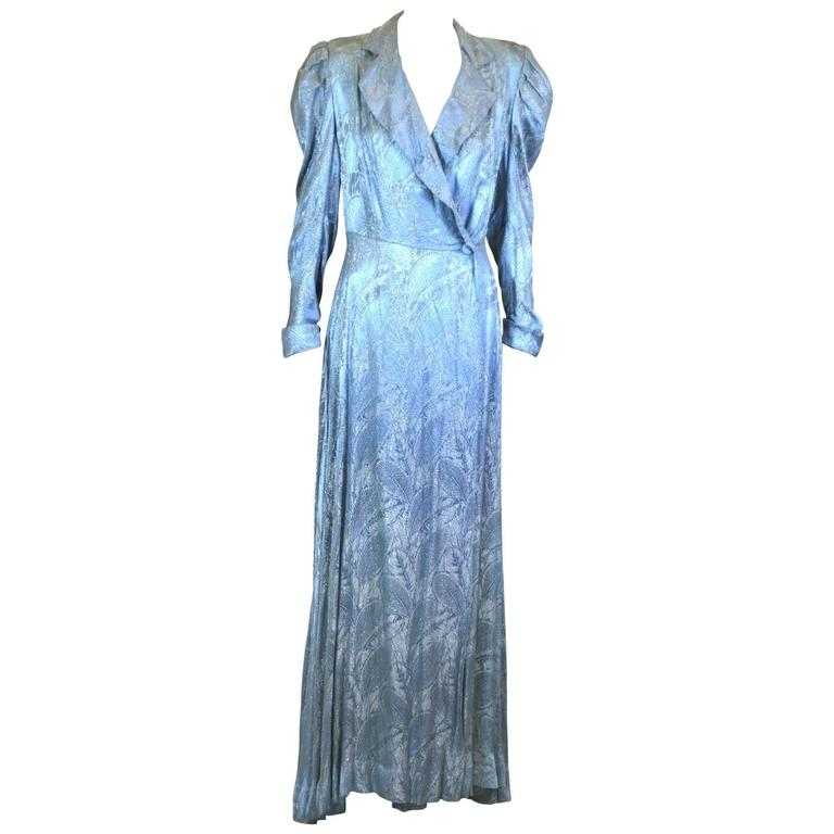 Art Deco Silver and Blue Lame Wrap