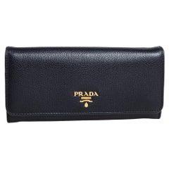 Prada Black Vitello Phenix Leather Flap Continental Wallet
