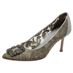 Manolo Blahnik Grey Lace And Satin Hangisi Pointed Toe Pumps Size 38.5