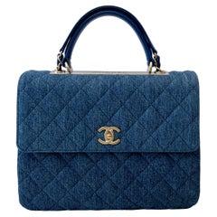 Chanel Trendy CC Blue Denim Top Handle Bag
