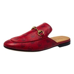 Gucci Red GG Ghost Print Leather Princetown Horsebit Mules Size 41.5