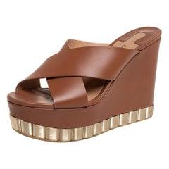 Salvatore Ferragamo Brown Nicosia Wedge Platform Cross Strap Sandals Size 36.5