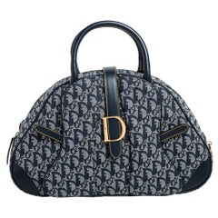 Dior Diorissimo Canvas and Leather Double Saddle Bowler Bag