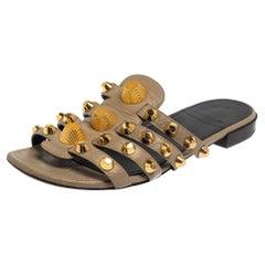 Balenciaga Grey Leather Arena Embellished Slide Sandals Size 38