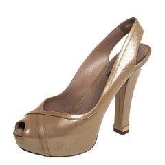 Louis Vuitton Gold Monogram VernisTamara Peep Toe Slingback Pumps Size 36.5