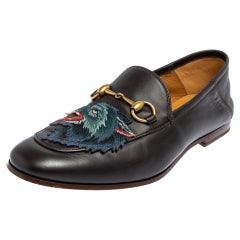 Gucci Dark Brown Leather Brixton Wolf Applique Horsebit Loafers Size 40