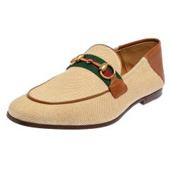 Gucci Beige/Brown Canvas And Leather Web Loafers Size 40.5