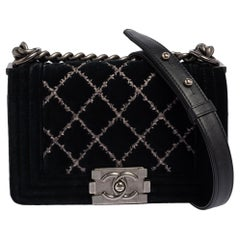 Chanel Black Quilted Velvet Small Wild Stitch Boy Flap Bag