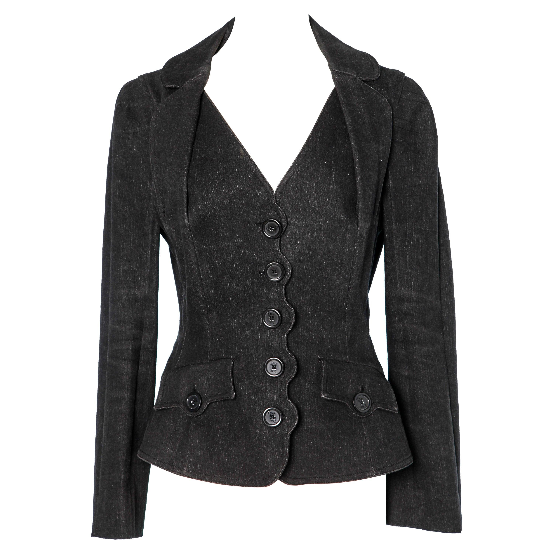Black denim jacket single-breasted Christian Dior Boutique