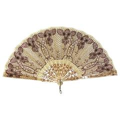 Victorian Rasberry Sequin Fan