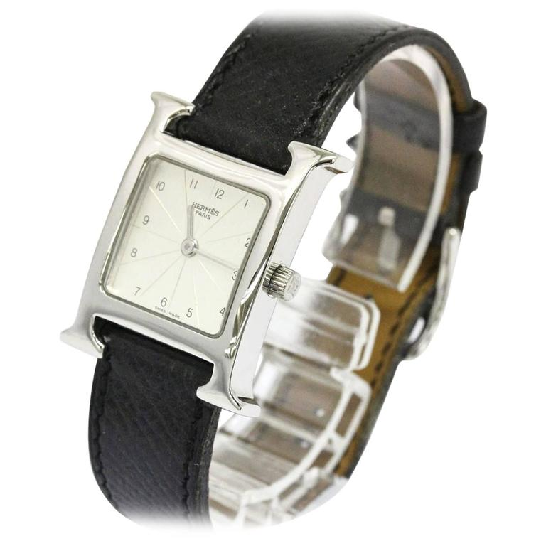 hermes h black leather stainless steel s s