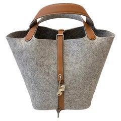 Hermès Picotin Lock 18 Bag Grey Feutre and Gold Barenia