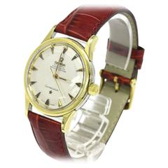 Omega Constellation Yellow Gold Leather Band Pie Pan Unisex Wrist Watch