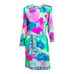 Leonard Paris Floral Silk Jersey Dress & Belt 1980s