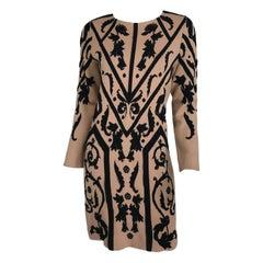 Temperley London Black & Tan Intarsia Symbols Knit Sweater Dress