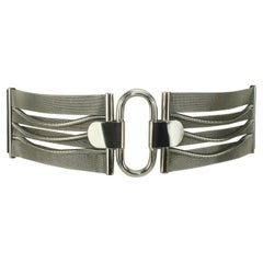 Ugo Correani Silver Mesh & Black Leather Corset Belt for Genny, 1970's