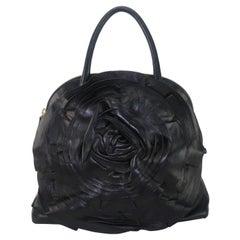 Valentino Garavani Black Leather Petale Dome Handbag