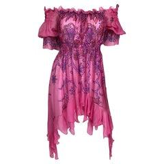 Zandra Rhodes Smocked printed Silk Tunic Dress