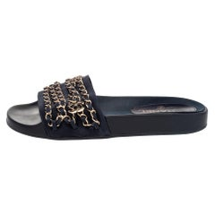 Chanel Navy Blue Fabric Tropiconic Chain Flat Slides Size 39