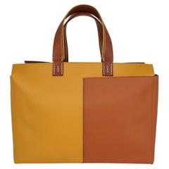 Hermes Bag Necto 34 Evercolor Toffee /  Jaune Ambre Palladium Tote New