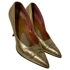 1950 Gold Metallic Leather Pointed Toe Stiletto Shoes Made In Germany Size 7B