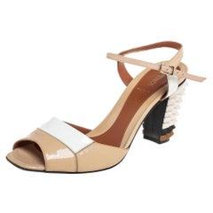 Fendi Beige/White Patent Leather Spike Heel Sandals Size 39