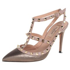 Valentino Metallic Grey and Pink Leather Rockstud Sandals Size 36