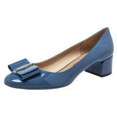 Salvatore Ferragamo Blue Patent Leather Vara Bow Pumps Size 40.5