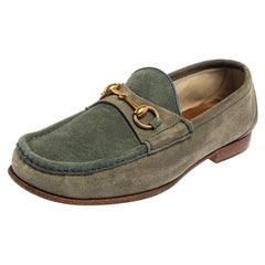 Gucci Blue/Grey Suede Horsebit Slip on Loafers Size 42