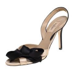 Valentino Black/Beige Satin Bow Slingback Sandals Size 38