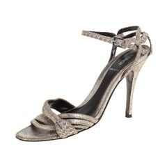 Fendi Silver/Beige Canvas And Suede Ankle Strap Sandals Size 37