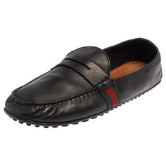 Gucci Black Leather Web Detail Loafers Size 45.5