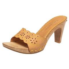 Louis Vuitton Tan Leather Wooden Slide Clog Sandals Size 40.5