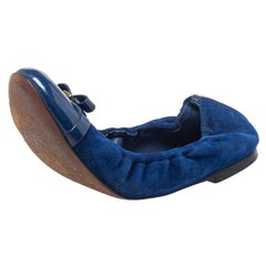 Louis Vuitton Blue Suede And Patent Leather Elba Flats Size 36