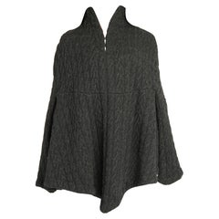 2010 Alexander McQueen Grey Cable Knit Wool Cape