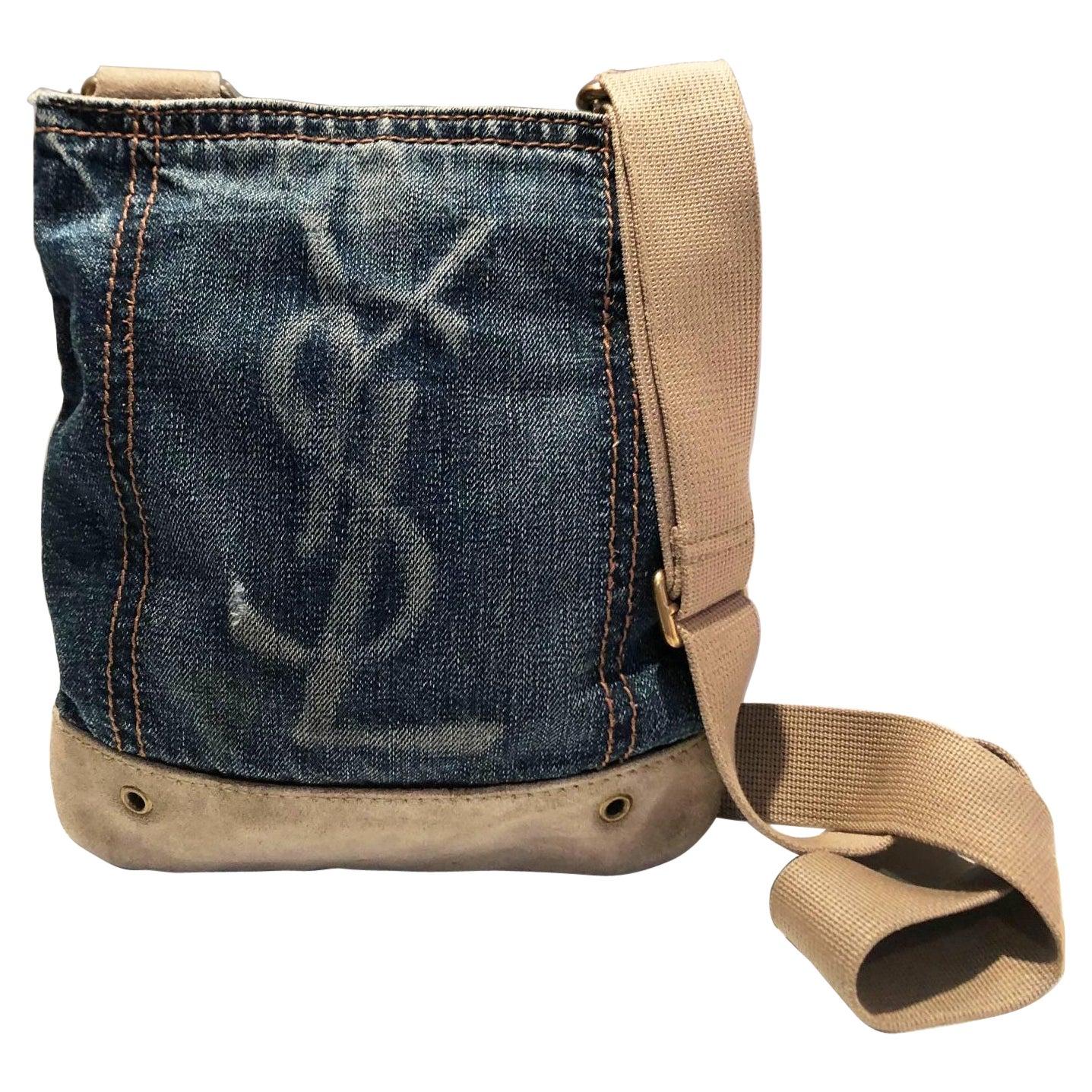 1990s Yves Saint Laurent Crossbody Shoulder Denim Logo Bag