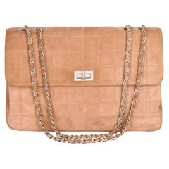 2000 Chanel Beige Chocolate Bar Quilted Suede Vintage Jumbo 2.55 Reissue Bag