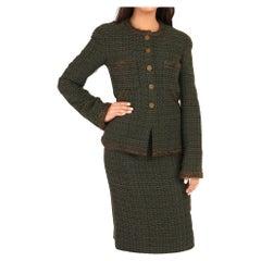 1990's Chanel Green & Brown Wool Tweed Vintage Skirt Suit