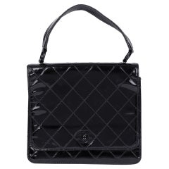 1999 Chanel Black Quilted Patent Leather Vintage SO Black Classic Single Bag