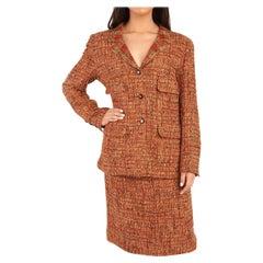 1990's Chanel Orange & Beige Wool Tweed Vintage Skirt Suit