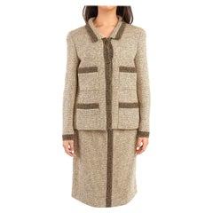 1990's Chanel Beige & Brown Wool Tweed Vintage Skirt Suit