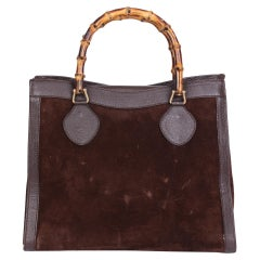 1990 Gucci Brown Pigskin Leather & Suede Vintage Bamboo Tote