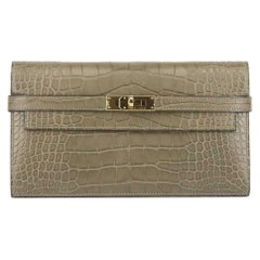 Hermès 2016 Kelly Matte Alligator Mississippiensis Leather Long Wallet