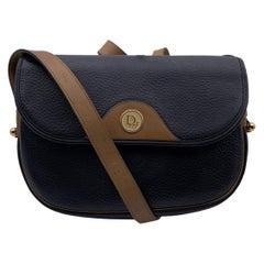 Christian Dior Vintage Black Leather Flap Messenger Crossbody Bag